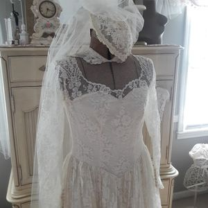 40S/50S VTG LACE WEDDING DRESS, TEA LENGTH!